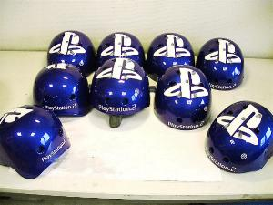 kitesurf helm airbrush Playstation 2 logo